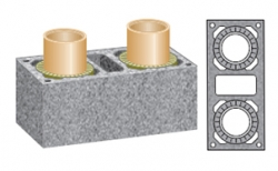 Керамический дымоход SCHIEDEL UNI двухходовой 1 п.м, 36*81 см, D 16L20 см