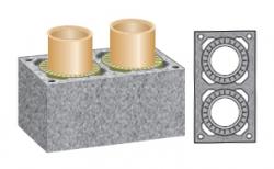 Керамический дымоход SCHIEDEL UNI двухходовой 0,33 п.м, 32*59 см, D 16-16 см