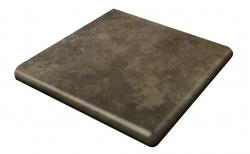 Клинкерная угловая ступень-флорентинер Gres Aragon Antic Basalto, 330*330*18(53) мм