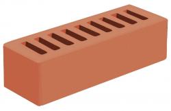 Кирпич евро лицевой 'Красный' с гладкой поверхностью