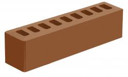 Кирпич ИК-2 лицевой коричневый 'Терракотовый' с гладкой поверхностью