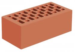 Кирпич утолщенный лицевой 'Красный' с гладкой поверхностью