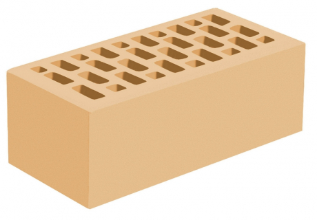 Кирпич утолщенный лицевой желтый 'Соломенный' с гладкой поверхностью